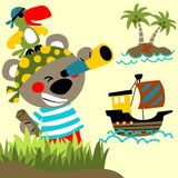 Funny pirates cartoon vector with sailboat Stock Photos