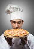 Funny pizza chef Royalty Free Stock Photography