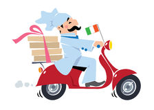 Funny pizza chef on scooter. Pizza delivery Stock Photo