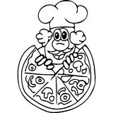 Funny Pizza cook coloring pages Royalty Free Stock Photos
