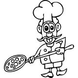 Funny Pizza cook coloring pages Royalty Free Stock Images