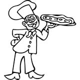 Funny Pizza cook coloring pages Stock Photos