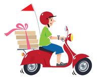 Funny pizza courier on scooter. Pizza delivery Stock Image