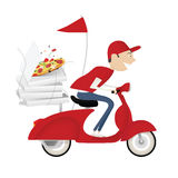Funny pizza delivery boy Royalty Free Stock Image