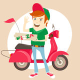 Funny pizza delivery boy in front of red motor bike wearing unif Stock Photos