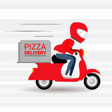 Funny pizza delivery boy riding red motor bike. Stock Photo