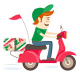 Funny pizza delivery boy riding red motor bike wearing uniform a Stock Photos