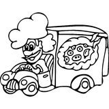 Funny Pizza delivery kids coloring pages Stock Image