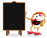 Funny Pizza Pointing a Blackboard Stock Photo