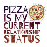 Funny Pizza poster doodle style. Vector. Royalty Free Stock Photography