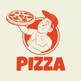 Funny pizza sign in retro style. Funny cartoon pizza sign in retro style vector illustration