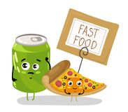 Funny pizza slice and soda can cartoon character. Cute pizza slice and soda can cartoon character isolated on white background  illustration. Funny fast food Stock Photos