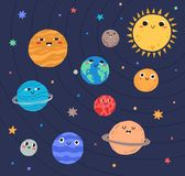 Funny planets of Solar system and Sun with smiling faces. Adorable celestial bodies in outer space. Cute astronomical stock illustration