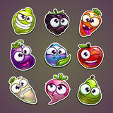 Funny plant characters stickers set. Royalty Free Stock Photo