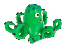 Funny plasticine Octopus Stock Photography