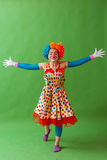 Funny playful clown. Funny playful female clown in colorful wig keeping hands apart, looking at camera and smiling, standing on a green background Stock Photography