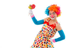 Funny playful clown. Portrait of a funny playful female clown in colorful wig holding lollipops, looking at camera and smiling, isolated on a white background Royalty Free Stock Photography