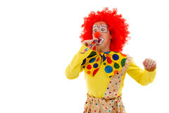 Funny playful clown. Portrait of a funny playful clown in red wig blowing party horn, looking at camera and smiling, isolated on a white background Stock Images