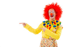 Funny playful clown. Portrait of a funny playful clown in red wig pointing to the side, looking at camera and smiling, isolated on a white background Stock Images
