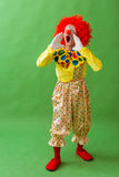 Funny playful clown. In red wig keeping hands near his face and screaming, on a green background Stock Photography