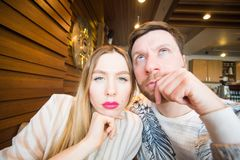 Funny playful young couple making silly face.  Royalty Free Stock Photo