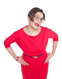 Funny plus size woman in glasses winking isolated Stock Photo