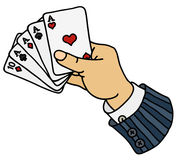 Funny poker cards in hand Royalty Free Stock Photos