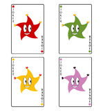 Funny poker playing cards. Four coloured funny poker playing cards Stock Image