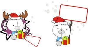 Funny polar bear baby xmas cartoon set Royalty Free Stock Photo