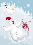 Funny polar bears. Vector illustration of two funny polar bears sliding down from a snowy hill Stock Photo