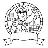 Funny policeman. Coloring book or emblem Stock Images