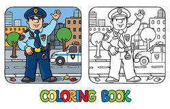 Funny policeman. Coloring book Stock Photos