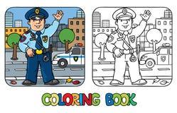 Funny policeman. Coloring book Stock Photos