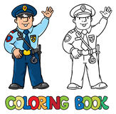 Funny policeman. Coloring book Stock Photography