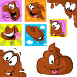 Funny poo character in many position - jumping, peeking out. Laying, flying Royalty Free Stock Images