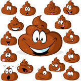 Funny poo with many expressions isolated Stock Photo