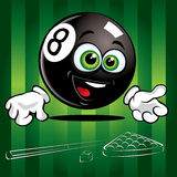 Funny Pool Ball. Funny smiling pool ball on the green background Royalty Free Illustration
