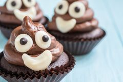 Poop emoji cupcakes Royalty Free Stock Photos