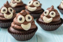Poop emoji cupcakes Royalty Free Stock Images