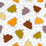 Funny poop hand drawn patch icon seamless pattern Royalty Free Stock Images