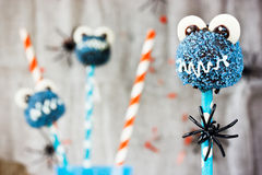 Funny pop cakes for Halloween party. Selective focus Stock Photo
