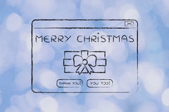 Funny pop-up message with Christmas wishes and present Royalty Free Stock Image