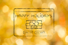 Funny pop-up message with Holiday wishes and present Royalty Free Stock Images
