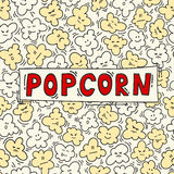 Funny popcorn seamless pattern. Vector illustration. Cinema background. Can be use for backdrop, wrapping paper, cards, etc Stock Photo