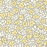 Funny popcorn seamless pattern. Vector illustration. Cinema background. Can be use for backdrop, wrapping paper, cards, etc Stock Image