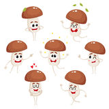 Funny porcini mushroom character with human face showing various emotions Royalty Free Stock Images