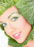 Funny portrait. Close up portrait of a funny hat wearing young woman Royalty Free Stock Photo