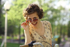 Funny portrait of a beautiful girl Stock Photos