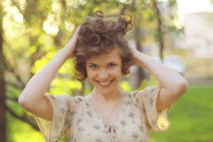 Funny portrait of a beautiful girl Royalty Free Stock Photo