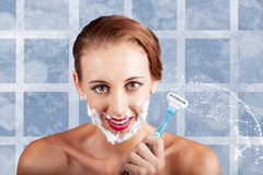 Beauty Woman In Bathroom With Skincare Products Royalty Free Stock Photo
